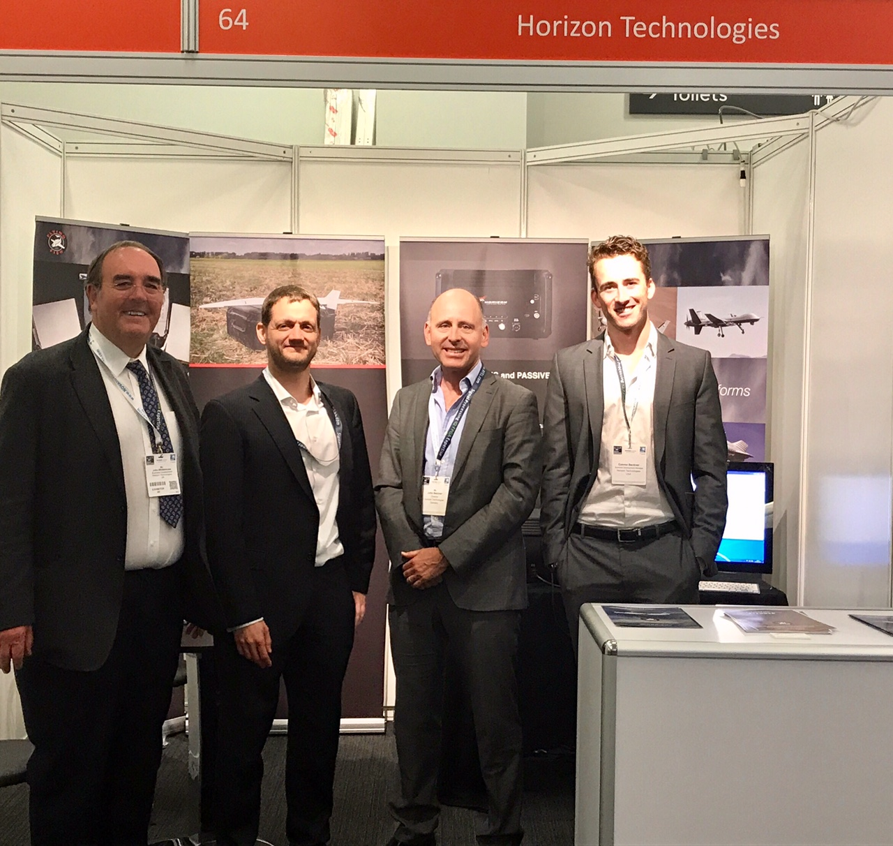 Horizon Technologies Exhibits at Electronic Warfare Europe in Olympia, London. Pictured from left to right: John Whitehouse, Claas Von Zombory, John Beckner, John Connor Beckner