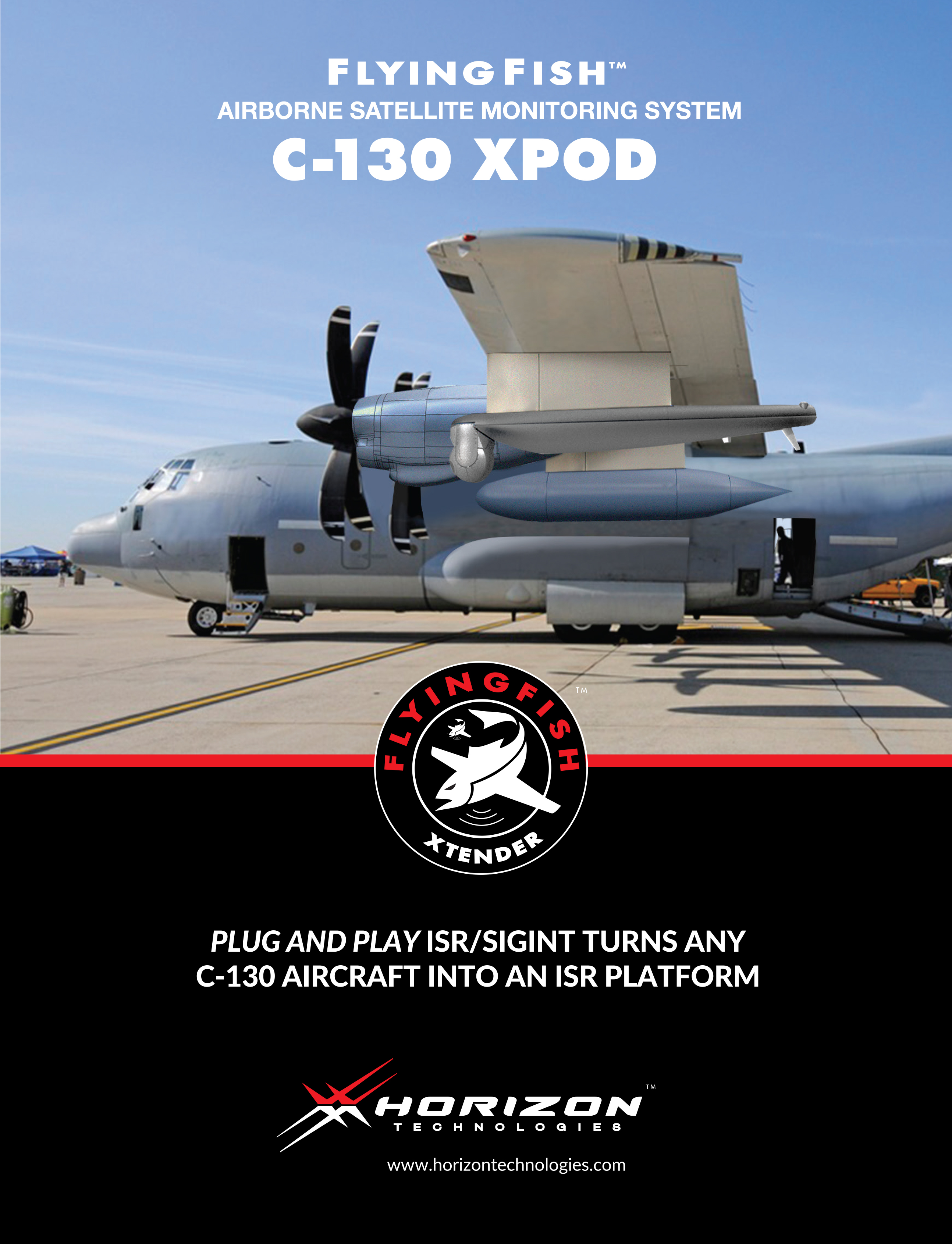 Xpod is a plug and play ISR/SIGINT system which turns any C-130 aircraft into an ISR platform.